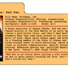 G.G. Joe File Card: Red Pen
