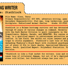 G.G. Joe File Card: Statblock