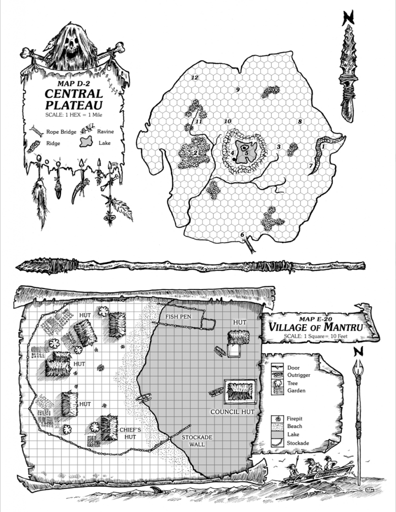 Isle-of-Dread-Map-D2-and the-Central-Plateau-and-E20-Village-Mantru