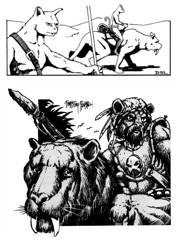 The Rakasa Tiger-Riders. Original version (top) and the second printing (bottom)