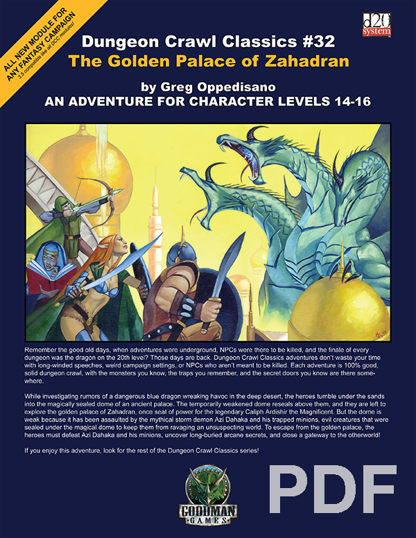 Cover of Dungeon Crawl Classics #32: The Golden Palace of Zahadran