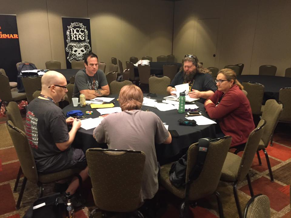 "Jobe Bittman runs a session of his ""Super Secret Playtest."" Pssst. It's a Jack Vance version of DCC."