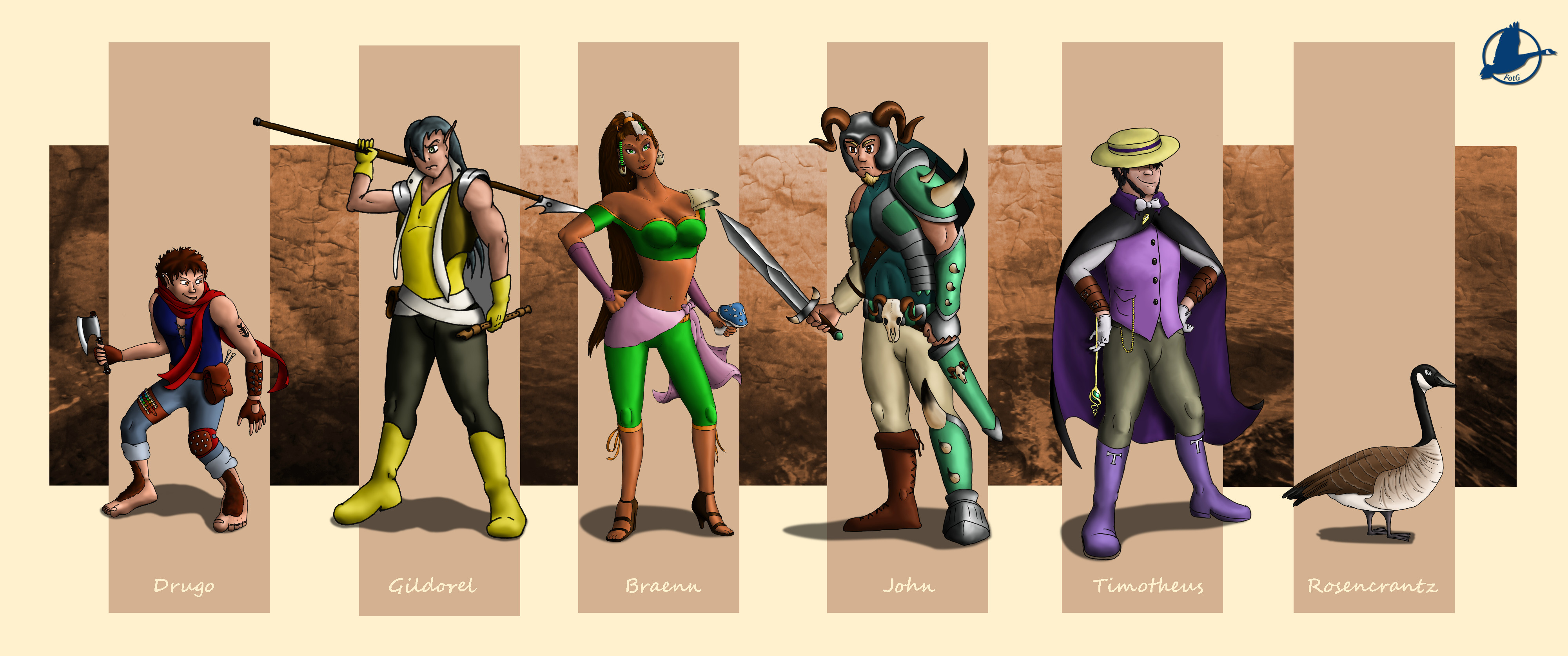 "Fellowship of the Goose: These are the PCs we ran the adventure with. (Courtesy of Pietro S., player of ""Gildorel"")"