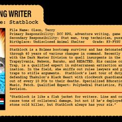 G.G. Joe File Card: Statblock
